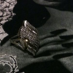 Large Goth Antique 925 Sterling Silver/18K RING